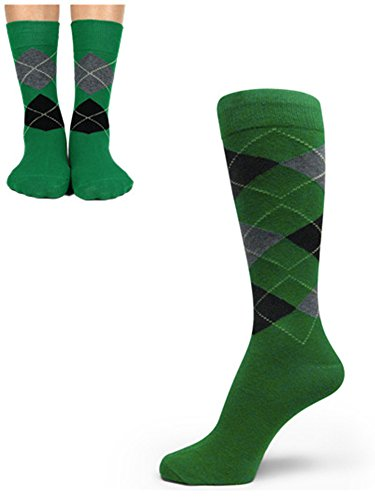 Spotlight Hosiery Junior's & Mens Wedding Argyle Dress Socks Set-Green/Charcoal Grey/Black