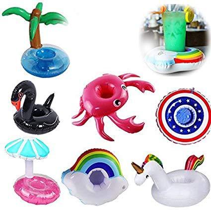Yojoloin 7PCS Inflable Pool Float Drink Cup Holder, Posavasos inflables para la Piscina y Juguetes de baño para niños (Unicornio, Cisne, Arco Iris, Cangrejo, piña, capitán Shield, Hongos)