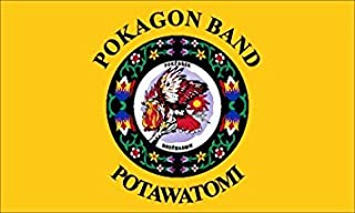 GHaynes Distributing Magnet POKAGON Band of POTAWATOMI Tribe Magnet(Seal Logo Flag Native) Size: 3 x 5 inch