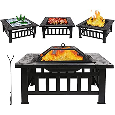 3 in 1 Fire Pit Table 81cm/32in Garden Log Wood Brazier Patio Outdoor Heater with Cooking/Wood Grill & Poker & Mesh Cover, Large Square Steel Firepit Bowls Charcoal Burner for BBQ Camping Heating by Bilisder