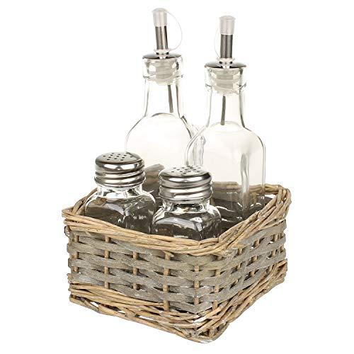 MACOSA NO79181 - Aceitera y vinagrera con salero y pimentero, diseño vintage