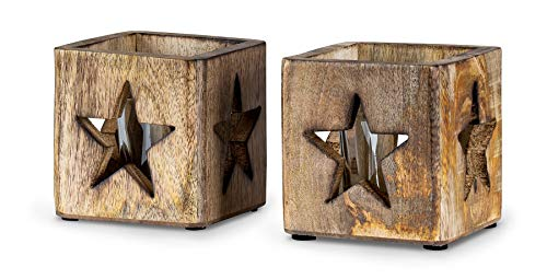 levandeo 2er Set Windlicht Stern 9cm Mangoholz Teelicht Glaseinsatz Teelichthalter Kerze Sternmotiv Mango Natur Holzdeko