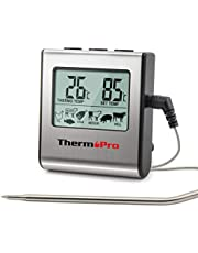 ThermoPro TP16 Digitales Bratenthermometer Ofenthermometer Fleischthermometer Grillthermometer Küchen Thermometer mit Timer für BBQ, Grill, Smoker