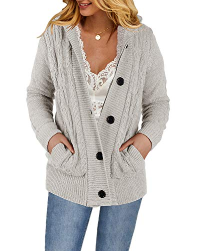 Yacooh Womens Cardigan Sweaters Cable Knit Open Front Hooded Button Down Sweater Coat