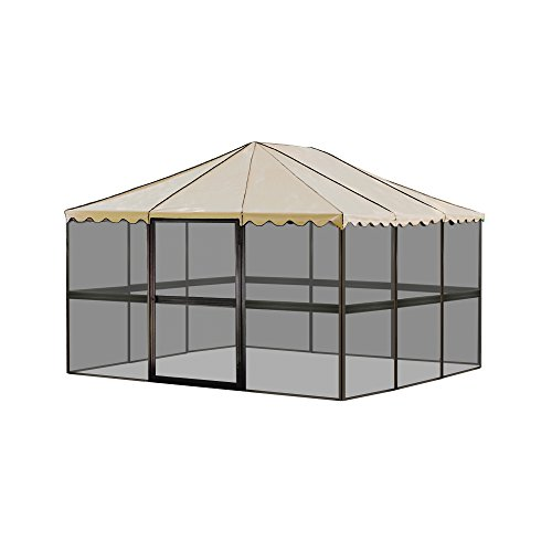 Casita 12-Panel Square Screenhouse 21165 Model Brown with Almond Roof Canopy