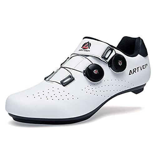 Zapatillas de Ciclismo para Hombre Zapatillas de Bicicleta de Carretera para Mujer compatibles con Look SPD SPD-SL Delta Cleats Zapatillas de Spinning para Interiores Exteriores Blanco260