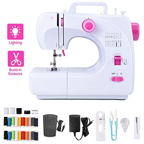Portable Electric Sewing Machine 12 Built-in Stitches for Amateurs Beginners Embroidery, Bonus Shared 20 Thread Spools
