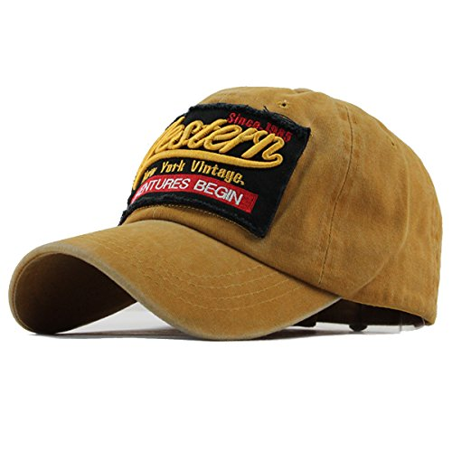 Sporty Trucker Baseballcap Western New York Cotton Distressed Snapback Vintage Cap (Gelb)