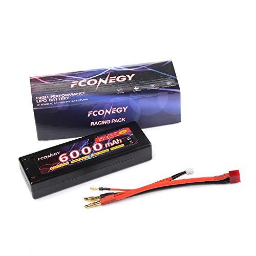 FCONEGY RC Akku 7.4V 6000mAh 2S 40C LiPo Batterie mit Deans T Stecker Modellbau Akkupack für RC Auto Boot Truck LKW Car Batterien