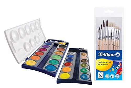 Pelikan Unisex Jugend 720631 K24, 24 Qualitätsfarben und 1 Tube Deckweiß (7,5 ml), nach Din 5023 (Deckfarbkasten + Pinselset 10tlg.), Mehrfarbig, Set