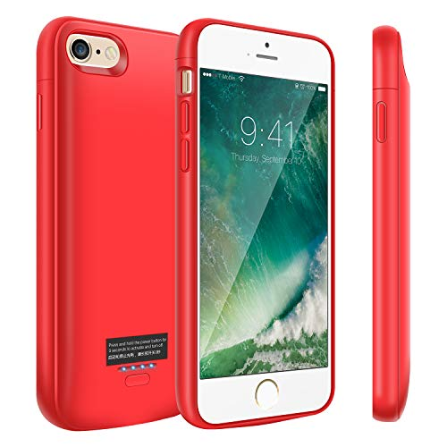 Battery Case for iPhone 8/7/6/6s, 4000mAh Portable Charger Case, Rechargeable Extended Battery Charging Case for iPhone 8/7/6/6s(4.7 inch), Compatible with Wire Headphones (Red)