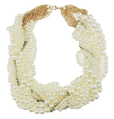 Glamour Girlz dames grote dikke faux parel vintage gelaagde ketting gouden toon ketting