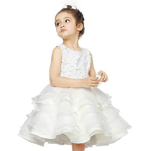 Xiao Jian Performance kostuum - kinderkleding meisjes prinses jurk bruiloft jurk bloemenmeisje sneeuwwitje tutu jurk kostuum kinderen jurk piano performance kostuum - wit tanzunivorm
