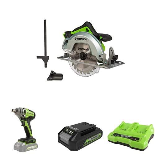Greenworks Tools 1500907 Sierra Circular, 24 V + Llave de impacto inalámbrica de batería + Batería G24B2 2ª generación + Batería de doble ranura Cargador universal G24X2C