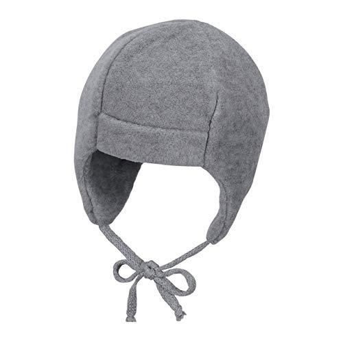 Sterntaler Unisex Mütze mit Ohrenklappen und Bindebändern, Alter: ab 3-4 Monate, Größe: 39, Silber Melange