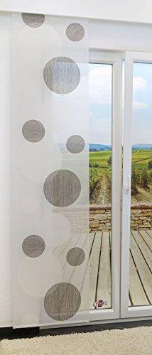 LYSEL Schiebegardine Spheres halbtransparent mit Kreisen in den Maßen 245 cm x 60 cm braun