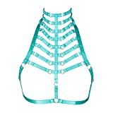 Female Body Harness Bra cage Carnival Photography Punk Goth Size can be Adjusted Lingerie Accessories (Jade Green)