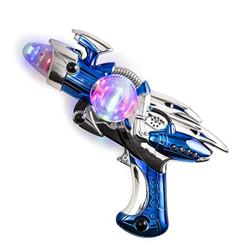 Kicko Toy Gun - Blue Light-Up Noise Blaster 11.5 Inches Long with Cool and Fun Super Spinning Space Style - for Novelty and Gag Toys, Party Favor, Party Bag Stuffer, Party Ideas