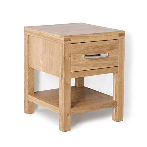 Abbey Light Oak Side Lamp Table with Storage Drawer   Roseland Furniture Contemporary Solid Wood End Sofa Table for Living Room, Hallway or Bedroom   Fully Assembled