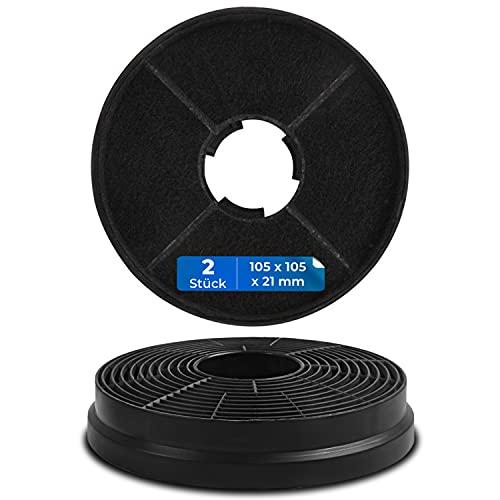 Kohlefilter für Dunstabzugshaube Filter-Set 2 Stück Ersatz für Respekta MIZ0058 PKM CF130 105mmØ Aktivkohlefilter Filltermatt Zubehör für Dunstabzugshauben Geruchsfilter für Umluftbetrieb