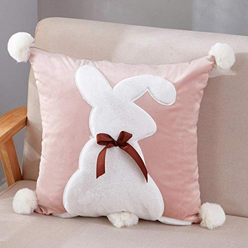 Pastoral American Rabbit Embroidered Patch Butterfly Sofa Cotton Cushion Square Pillow Case@Bow,rabbit,jade_45*45cm【Pillow with core】