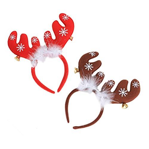 TOYVIAN 2 Pcs Diademas de Renos Lindos, Adornos de Fiesta de Navidad Accesorios para el Cabello para niños Adultos...