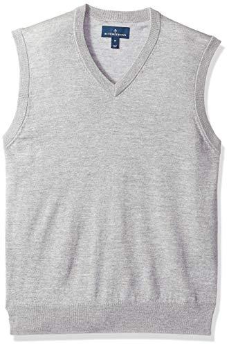 BUTTONED DOWN Men's Italian Merino Wool Lightweight Cashwool Sweater Vest, Grey Heather, X-Small