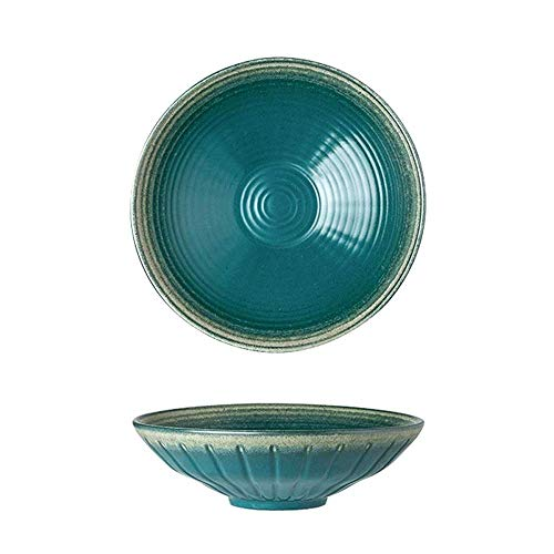 LIANGANAN Ceramic Mixing Bowls, Serving Bowl Set, Non Slip And Beautiful Outer Design Cooking Supplies inexperienced Lightweight