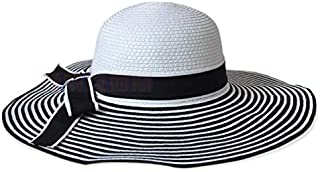قبعة أنيقة بيضاء وسوداء مقلمة شمسية للنساء الصيف السفر سترو قبعة