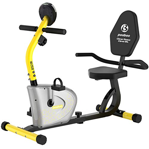 Pooboo Recumbent Exercise Bike Magnetic Indoor Cycling Bike with Adjustable Resistance and Seat,Stationary Bike with Monitor,Phone Holder