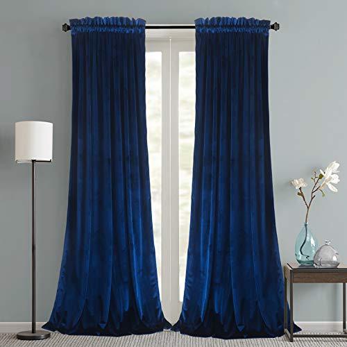 Roslynwood Velvet Curtains 2 Panels Set, Thermal Insulated VelourRod Pocket Drapes for Bedroom and Living Room (52 x 84 inch, Royal Blue)