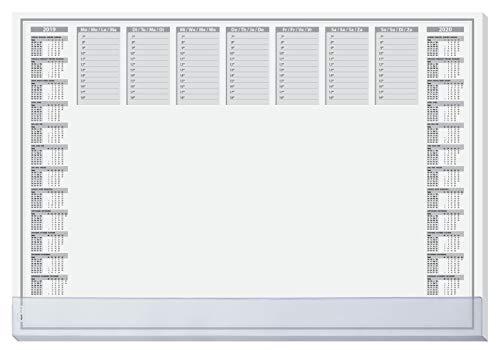 Sigel HO366 papieren bureau-onderlegger met transparante beschermlijst, kalender voor 2 jaar, 59,5 x 41 cm, 40 vellen met kalender 1 mit transparenter Schutzleiste