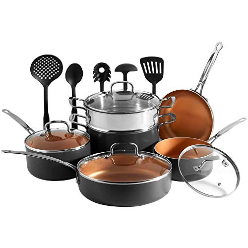 VonShef 11 Piece Copper Pan Set - Non Stick Aluminium Cookware Set with Pans & Utensils– Kitchen Bundle Suitable for All Hob Types