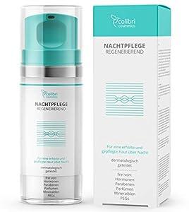 Crema facial de noche para mujer con sérum de ácido hialurónico y retinol - crema de cara hidratante para el contorno de ojos antiarrugas - cosmética natural, fabricada en Alemania
