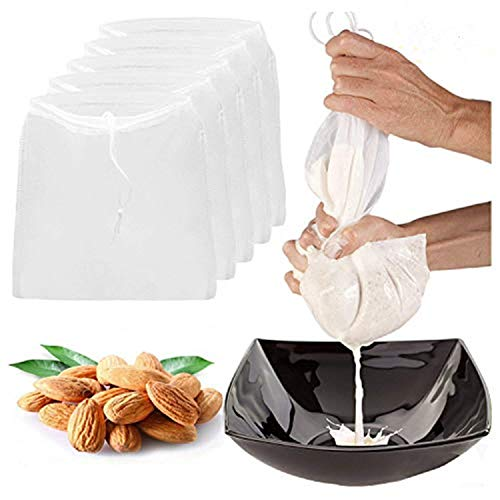 5 Pcs Pro Quality Nut Milk Bag LERORO 10 x 12 Reusable Fine Mesh Nylon Filter Strainer All Purpose Food Strainer for Almond Soy MilkBadam Nut Cashew Walnut Milk Juice and Cold Brew Coffee