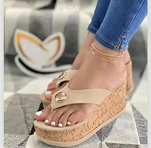 dihui Sling Back Sandaler, Songcake stor lutning med sandaler, tjocka bottenskurna sandskor-beige_3, tå stringssandaler
