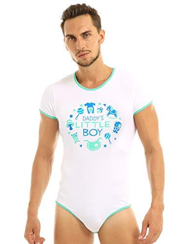 TiaoBug Herren Body Baby Strampler Ouvert Slip Einteiler Unterwäsche Overalls Unterhemd Kurzarm Shirt Tee mit Aufdruck Nachtwäsche Weiß Medium