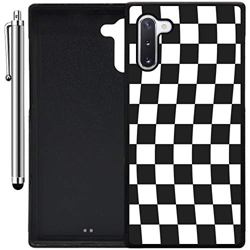 Custom Case Compatible with Galaxy Note 10 (Checkered Flag Finish Line) Edge-to-Edge Rubber Black Cover Ultra Slim | Lightweight | Includes Stylus Pen by Innosub