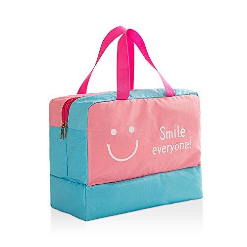 étanche Unisexe à sec humide séparé Plage Sac de sport Sac de piscine rose Pink smiley face