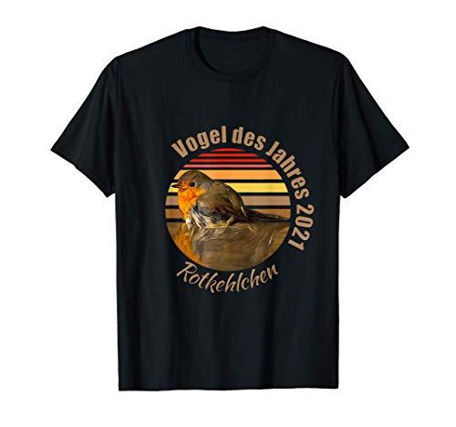 Rotkehlchen Design, Vogel des Jahres 2021, Vogelmotiv T-Shirt