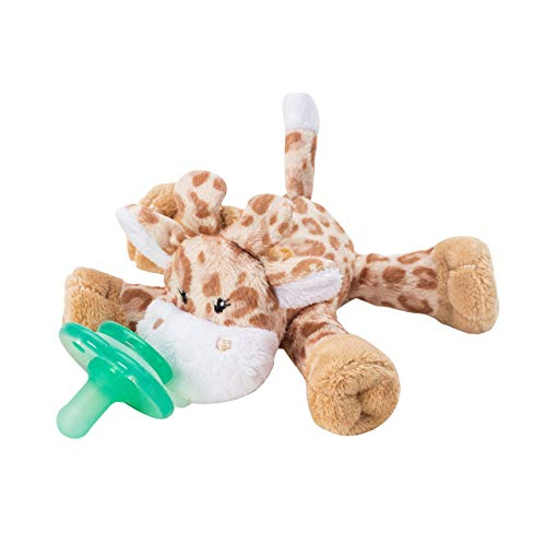Nookums Paci-Plushies Buddies - Pacifier Holder - Adapts to Name Brand Pacifiers, Suitable for All Ages, Plush Toy Includes Detachable Pacifier (Brown Giraffe)