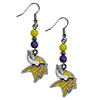 NFL Siskiyou Sports Womens Minnesota Vikings Fan Bead Dangle Earrings One Size Team Color