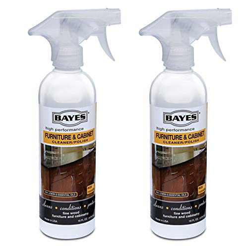 Bayes High-Performance Furniture, Cabinet Cleaner and Polish - Cleans, Conditions, and Preserves Fine Wood Furniture and Cabinetry - 16 oz, 2 Pack