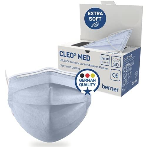 Cleo MED QUALITY Medizinischer Mundschutz aus Deutschland geprüft nach EN 14683 (50 Stk.) - Premium OP Masken - Mundschutz medizinisch Typ IIR extra Weich - Mund Nasen Schutzmaske Made in Germany