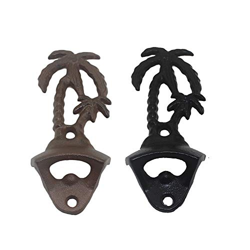 Mixed Shape Wall Mount Bottle Opener 2pcs per Set with Different Color silverblackvintageredgreen blackvintage palm tree
