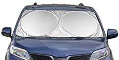 Keep Your Vehicle Cooler: No more burning steering wheels, scorching dashboards, or hot interiors. Protect Your Vehicle from Sun Damage: We use the highest quality 210T material to reflect harmful UV rays away from your vehicle. It's Easy to Use and ...