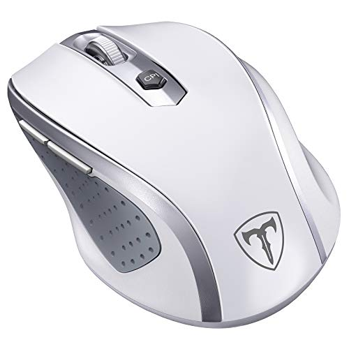 Wireless Mouse, 2.4G Ergonomic Computer Mouse with USB Receiver, Finger Rest, 5 Adjustable DPI Levels, Mobile 2400DPI USB Mice for Laptop Chromebook Notebook MacBook Computer, White
