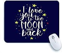ECOMAOMI 可愛いマウスパッド ブラシ私は月にあなたを愛し、ロマンチックな心に強く訴える引用の手レタリングに戻る 滑り止めゴムバッキングマウスパッドノートブックコンピュータマウスマット