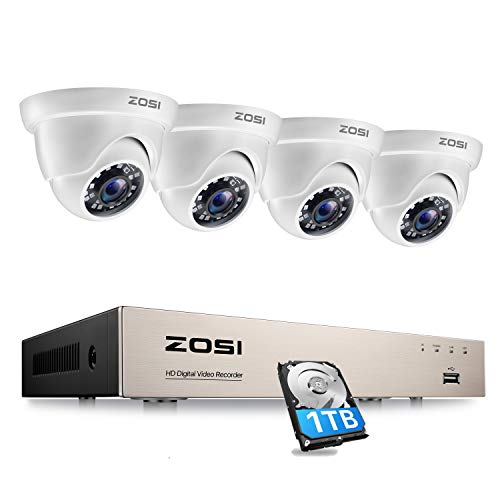 ZOSI Sistema de Cámara de Vigilancia 8CH H.265+ 1080P Grabador DVR con (4) 2MP Cámara de Seguridad Exterior Domo, Acceso Remoto, Detección de Movimiento, 1TB Disco Duro