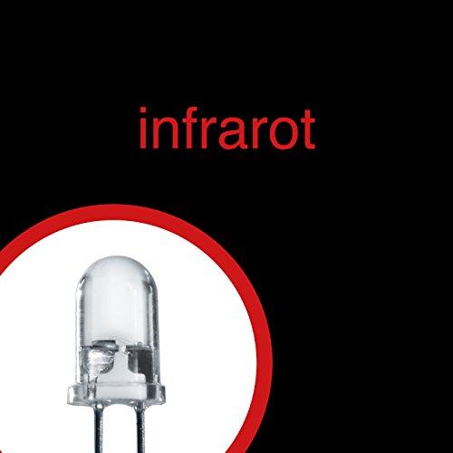 Lumetheus LED 5mm Farbe IR infrarot 20 Stück Leuchtdioden 3V / 12V Diode 2 Pin LEDs + 12V Widerstand